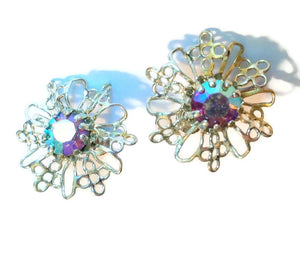 Winter Glamour Sparkling Snowflake Clip Earrings circa 1960s