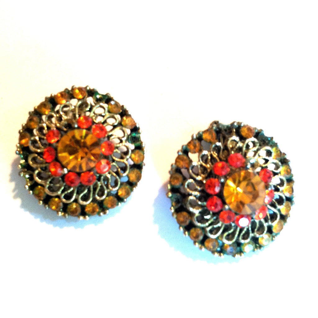 Orange and Yellow Rhinestone Clip Earrings circa 1960s