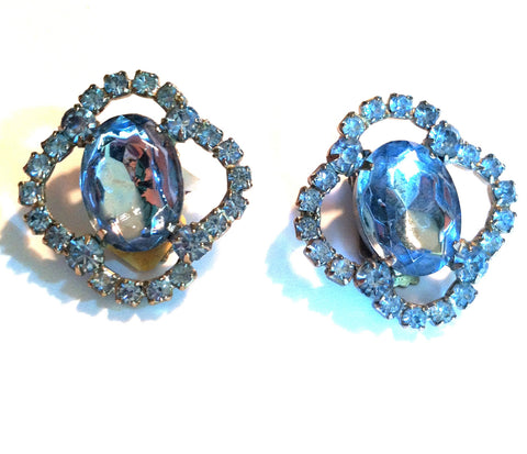 Pale Blue Cut Glass and Rhinestone Large Clip Earrings circa 1950s Dorothea's Closet Vintage Jewelry