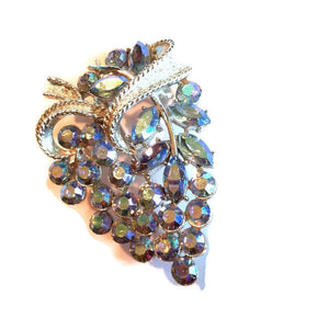 Smokey Blue Crystal Grape Cluster Brooch circa 1950s