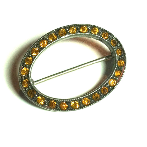 Topaz Hued Rhinestone Oval Shaped Sash Pin circa Early 1900s