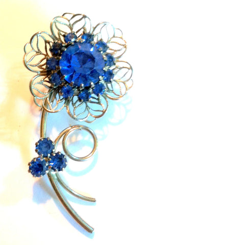 Blue Rhinestone Flower Statement Brooch circa 1960s