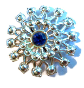 Cobalt Blue and Silver Sunburst Brooch circa 1940s
