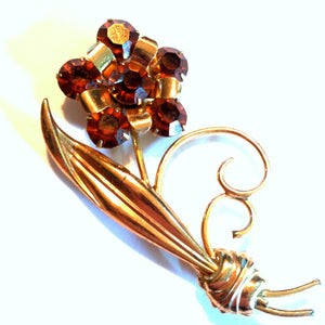 Rich Honey Rhinestone Flower Statement Brooch circa 1940s Dorothea's Closet Vintage Brooch