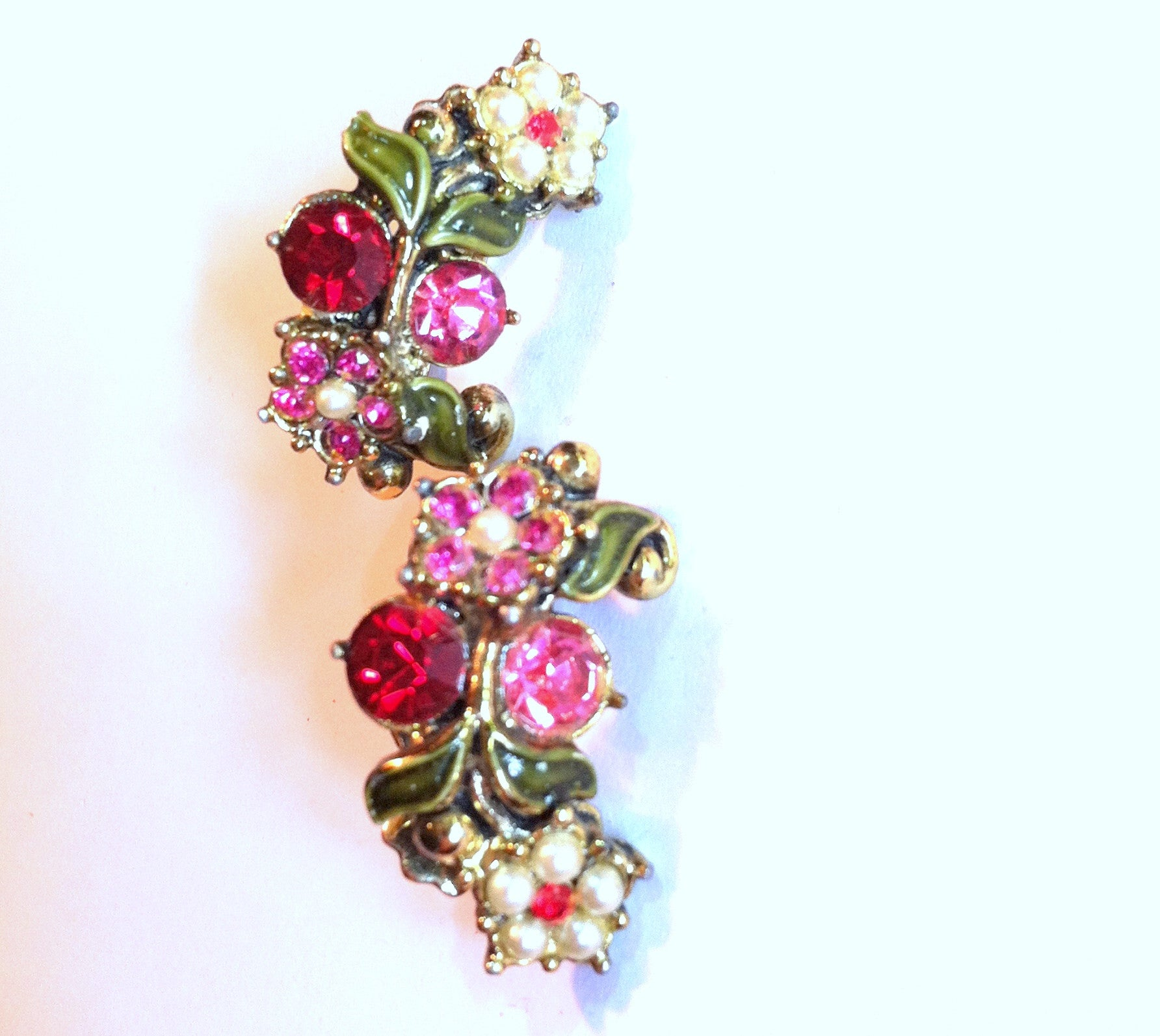Pretty Pink Flower Faux Pearl and Rhinestone Clip Earrings circa 1960s Dorothea's Closet Vintage Jewelry