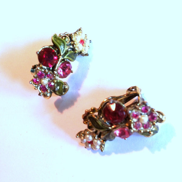 Pretty Pink Flower Faux Pearl and Rhinestone Clip Earrings circa 1960s
