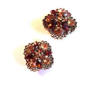 Caramel and Honey Rhinestone Clip Earrings circa 1960s Lisner Dorothea's Closet Vintage Jewelry