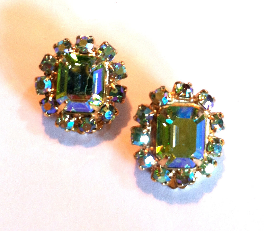 Stylish Lime Green Rhinestone Clip Earrings circa 1960s
