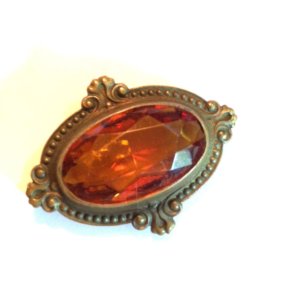 Rich Honey Colored Czech Glass Brooch circa Early 1900s Dorothea's Closet Vintage Brooch