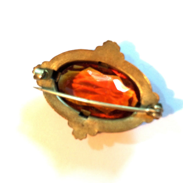 Rich Honey Colored Czech Glass Brooch circa Early 1900s