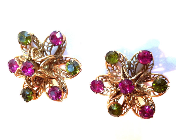 Large 3-D Filigree Flower Clip Earrings w/ Purple Rhinestones circa 1960s
