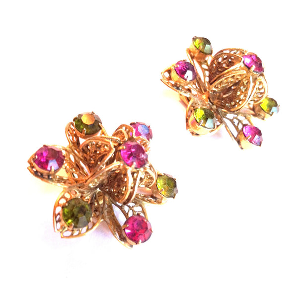 Large 3-D Filigree Flower Clip Earrings w/ Purple Rhinestones circa 1960s Dorothea's Closet Vintage Jewelry