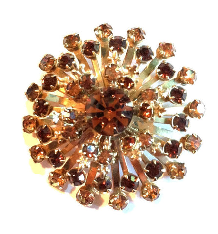 Honey Hued Rhinestone Starburst Statement Brooch circa 1950s