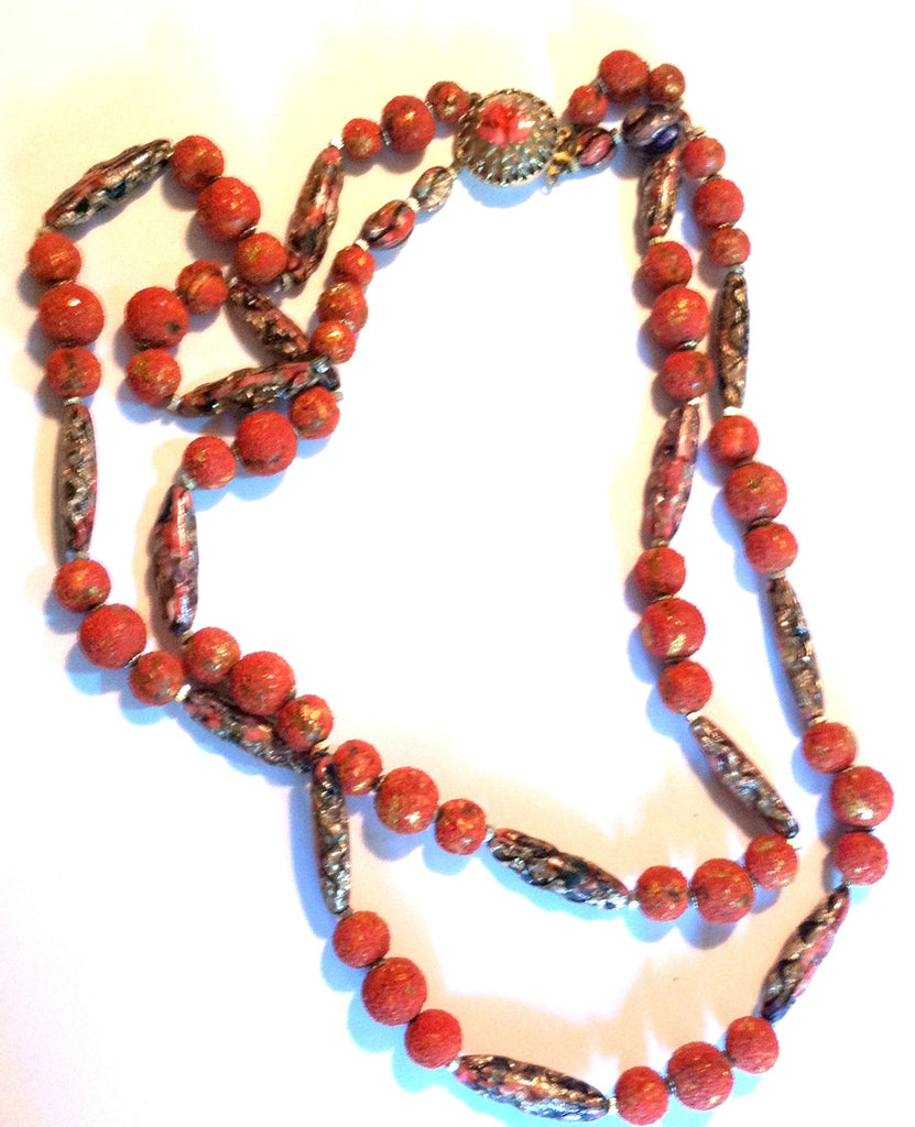 Sienna Sugared and Glass Bead Double Strand Necklace circa 1960s Dorothea's Closet Vintage Jewelry