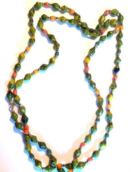Meadow Green and Orange Swirled Glass Bead Long Necklace circa 1940s