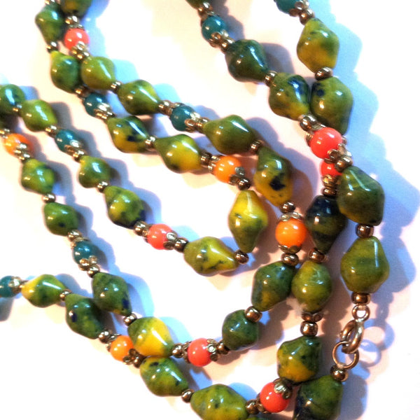 Meadow Green and Orange Swirled Glass Bead Long Necklace circa 1940s Dorothea's Closet Vintage Necklace