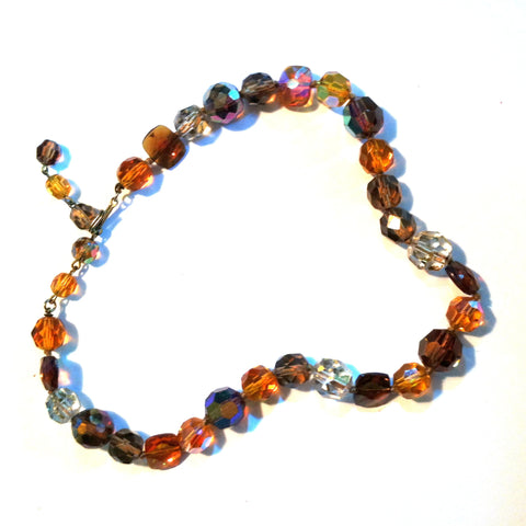 Autumn Jewel Tone Beveled Glass Bead Necklace circa 1960s