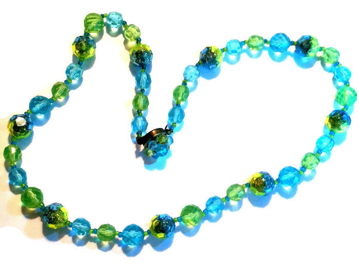 Lime and Aqua Glitter Filled Bead Necklace circa 1960s