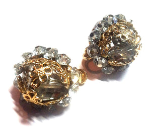 Soft Grey Crystal and Rhinestone Filigree Wrapped Clip Earrings circa 1960s Vendome