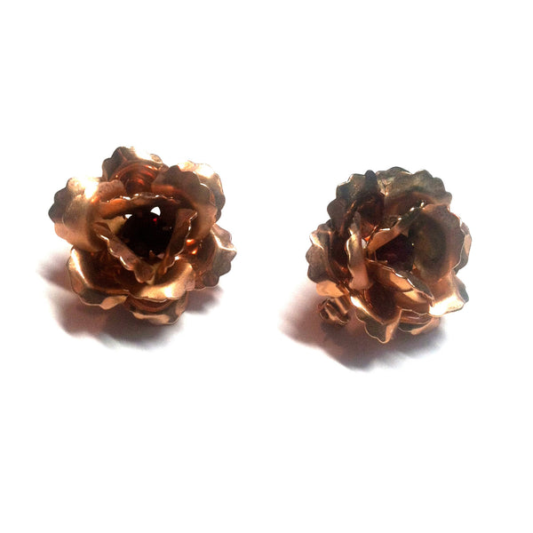Copper Sculpted Rose Pair of Brooches w/ Red Rhinestones circa 1940s Dorothea's Closet Vintage Jewelry
