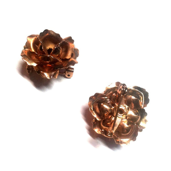 Copper Sculpted Rose Pair of Brooches w/ Red Rhinestones circa 1940s