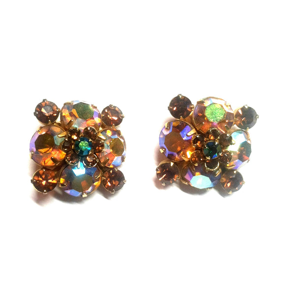 Aurora Borealis Rhinestone Clip Earrings in Autumn Hues circa 1960s