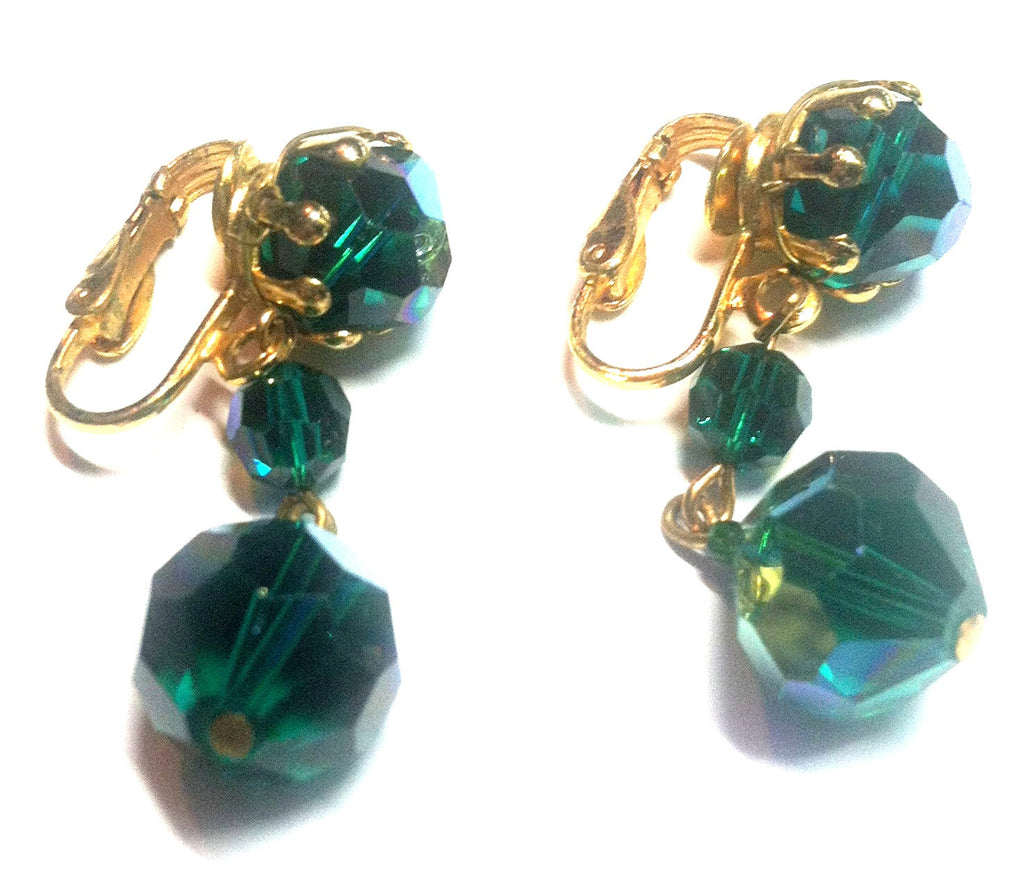 Iridescent Green Glass Beaded Dangle Earrings circa 1960s Dorothea's Closet Vintage Jewelry