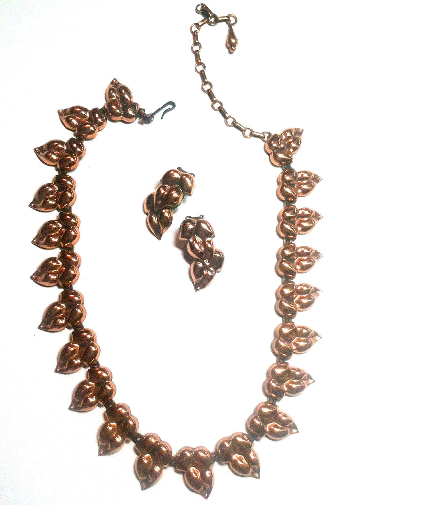 Copper Leaf Link Necklace and Clip Earrings circa 1940s Renoir Dorothea's Closet Vintage Jewelry