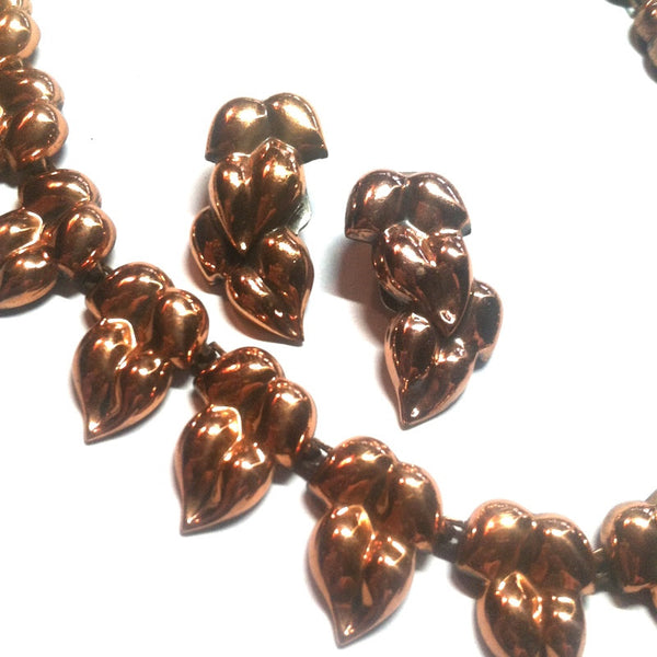 Copper Leaf Link Necklace and Clip Earrings circa 1940s Renoir
