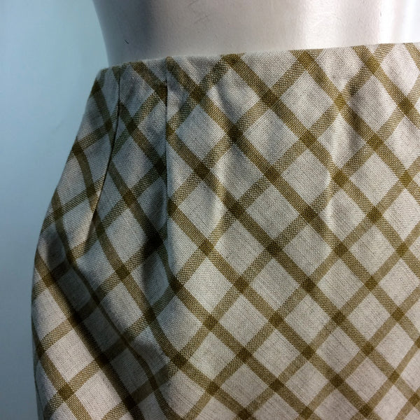 Golden Yellow and White Lattice Print Skirt circa 1960s