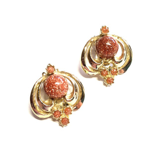 Goldstone Art Nouveau Clip Earrings circa 1960s