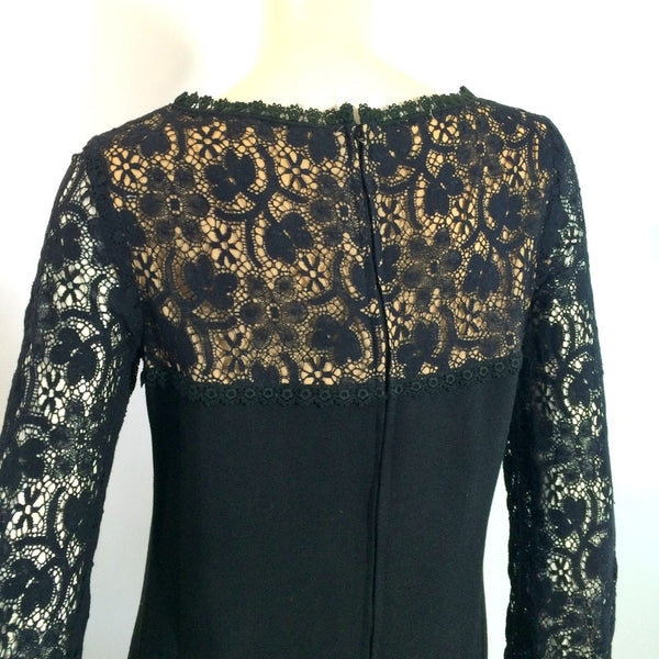 Illusion Lace Shoulders Long Sleeved Black Shift Dress circa 1960s