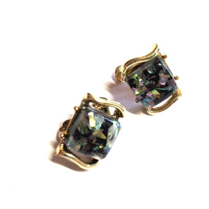 Metallic Confetti Flecked Teal and Purple Lucite Earrings circa 1960s