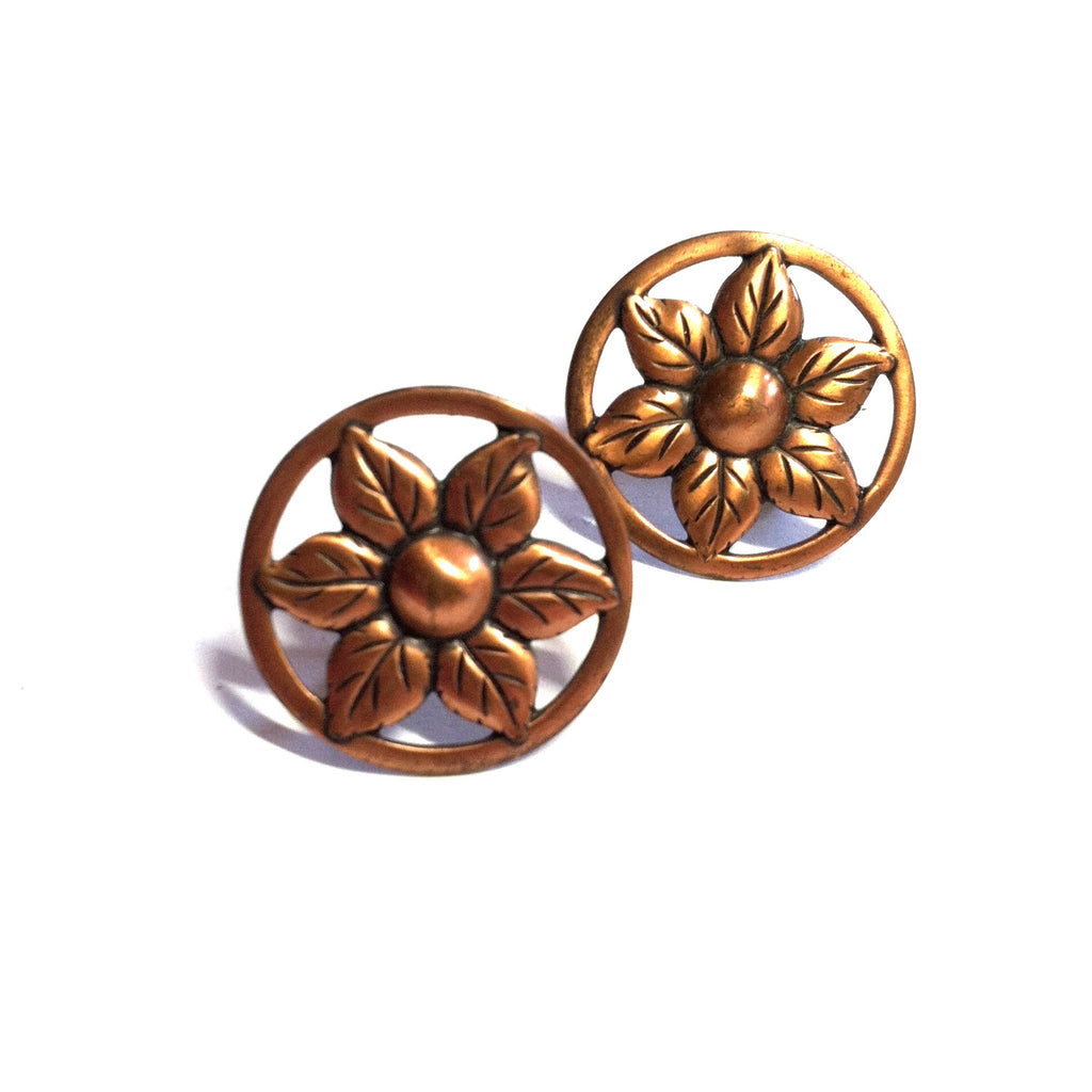 Moderne Flower Copper Screwback Clip Earrings circa 1940s Dorothea's Closet Vintage Jewelry