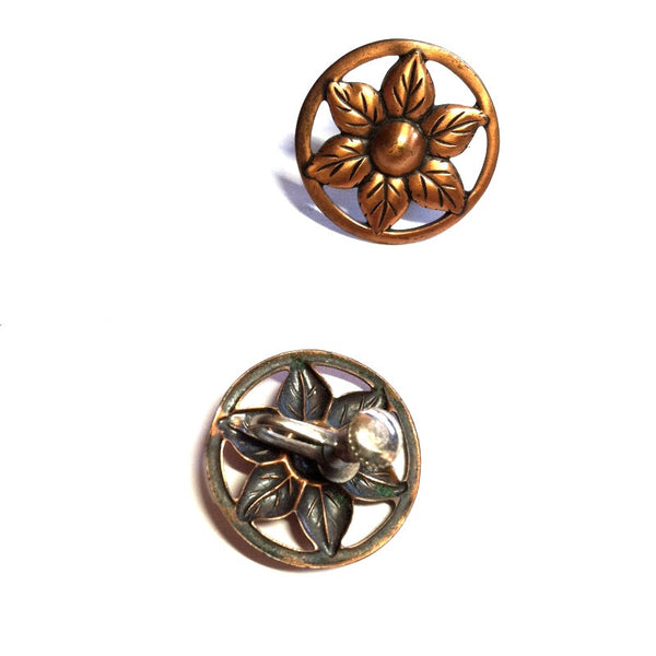 Moderne Flower Copper Screwback Clip Earrings circa 1940s