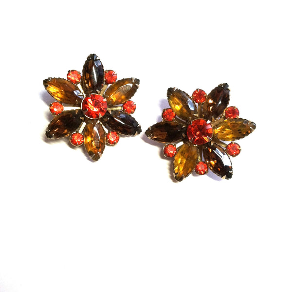 Spice Hued Rhinestone Flower Shaped Clip Earrings circa 1960s