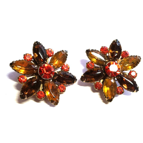 Spice Hued Rhinestone Flower Shaped Clip Earrings circa 1960s Dorothea's Closet Vintage Jewelry