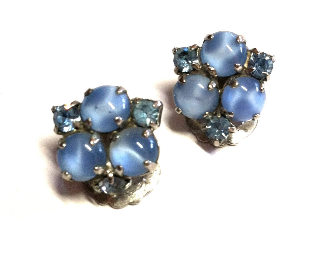 Sweet Baby Blue Bead and Rhinestone Clip Earrings circa 1950s