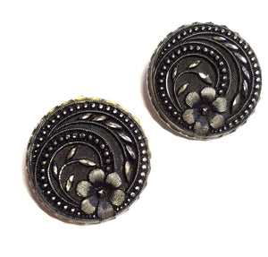 Marcasite Style Floral Disc Earrings circa 1940s