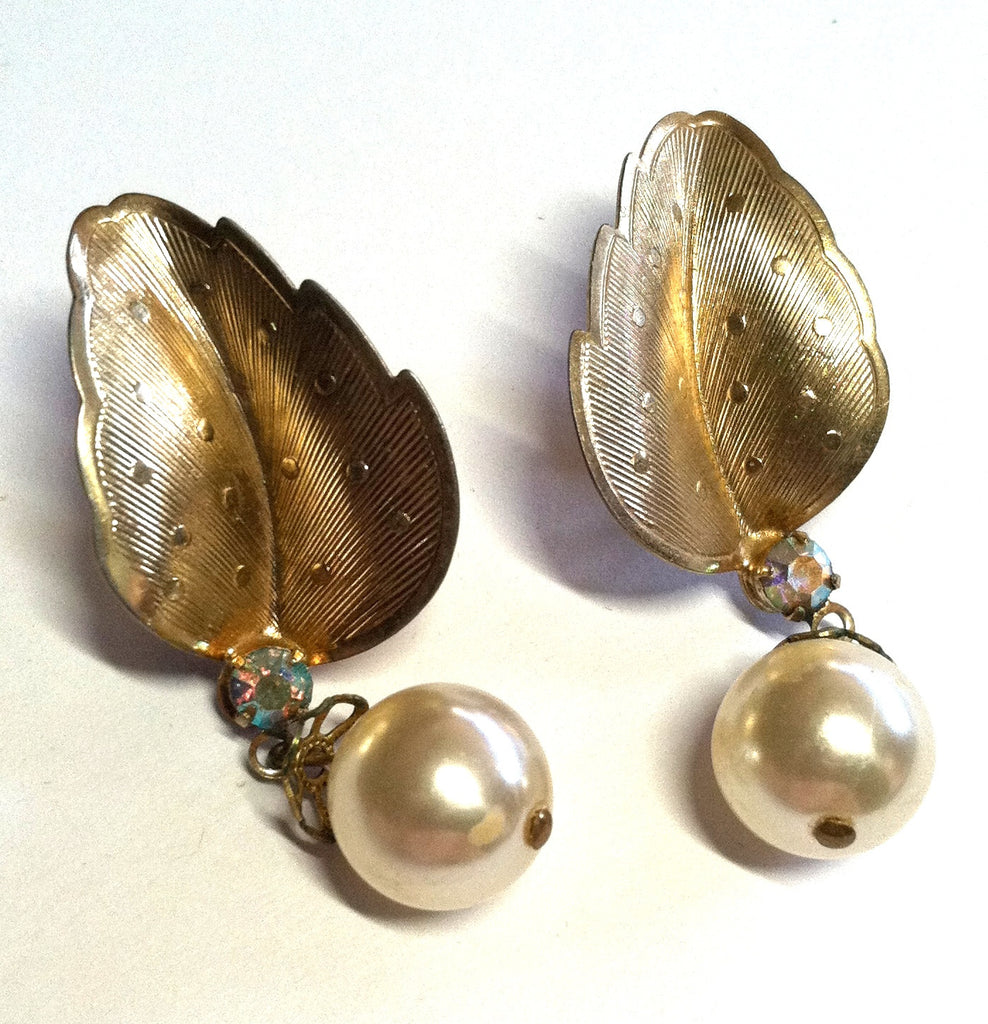 Golden Leaf Dangle Clip Earrings with Rhinestone and Faux Pearl circa 1950s