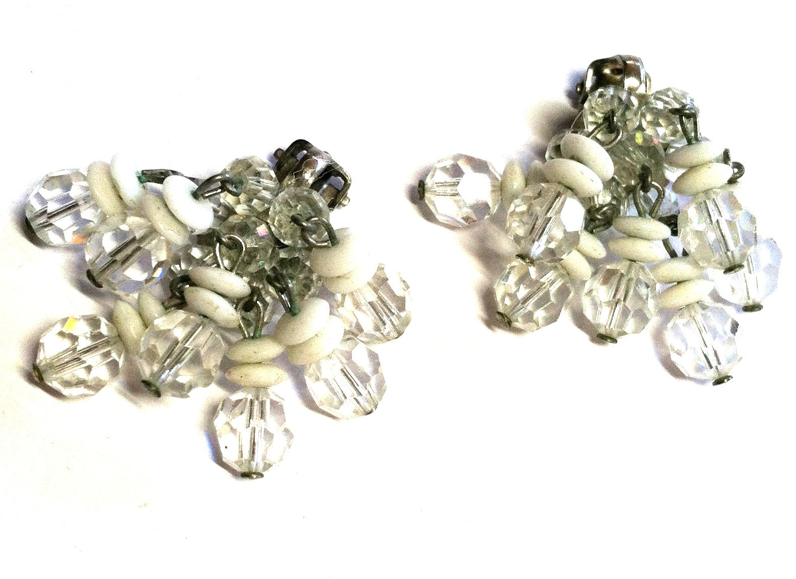 Crystal and Bead Waterfall Dangle Clip Earrings circa 1960s