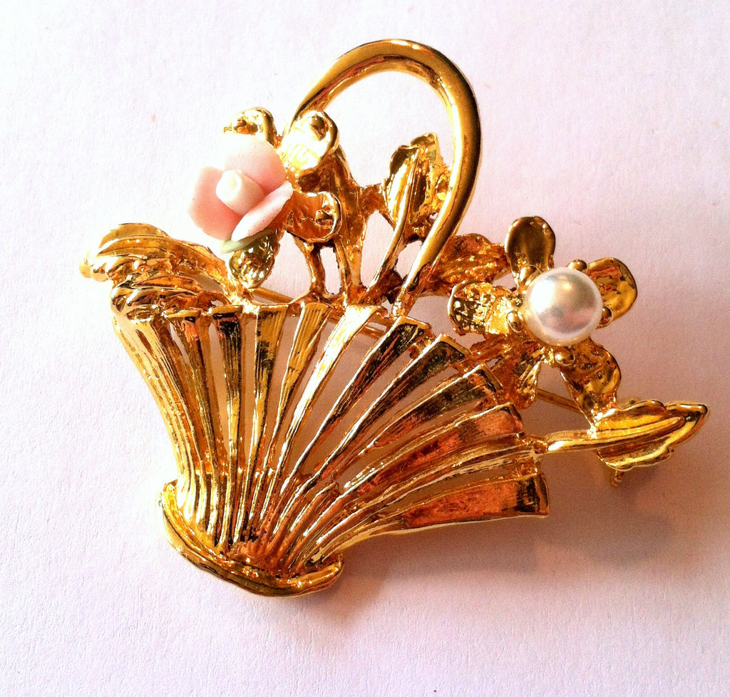 Pink Posie Basket Statement Brooch circa 1960s