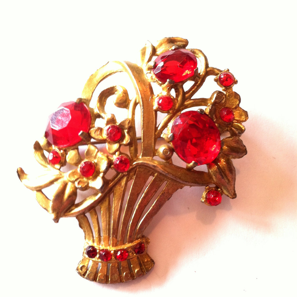 Brilliant Red Rhinestone Posey Basket Brooch circa 1940s