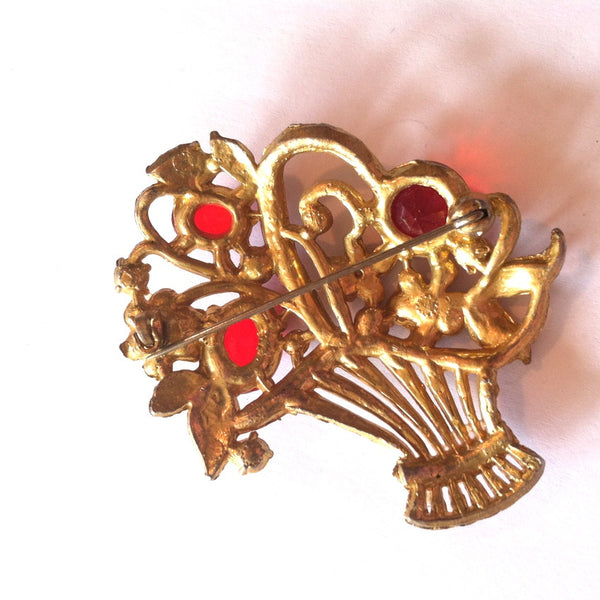 RESERVED Brilliant Red Rhinestone Posey Basket Brooch circa 1940s