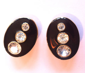 Modern Black Enameled Rhinestone Clip Earrings circa 1980s Dorothea's Closet Vintage Jewelry