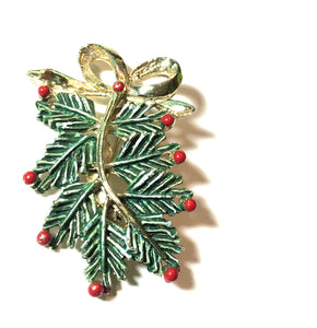 Pine Bough and Berry Enameled Brooch circa 1960s