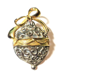 Sterling Silver and Gold Tone Christmas Ornament Brooch circa 1960s Danecraft