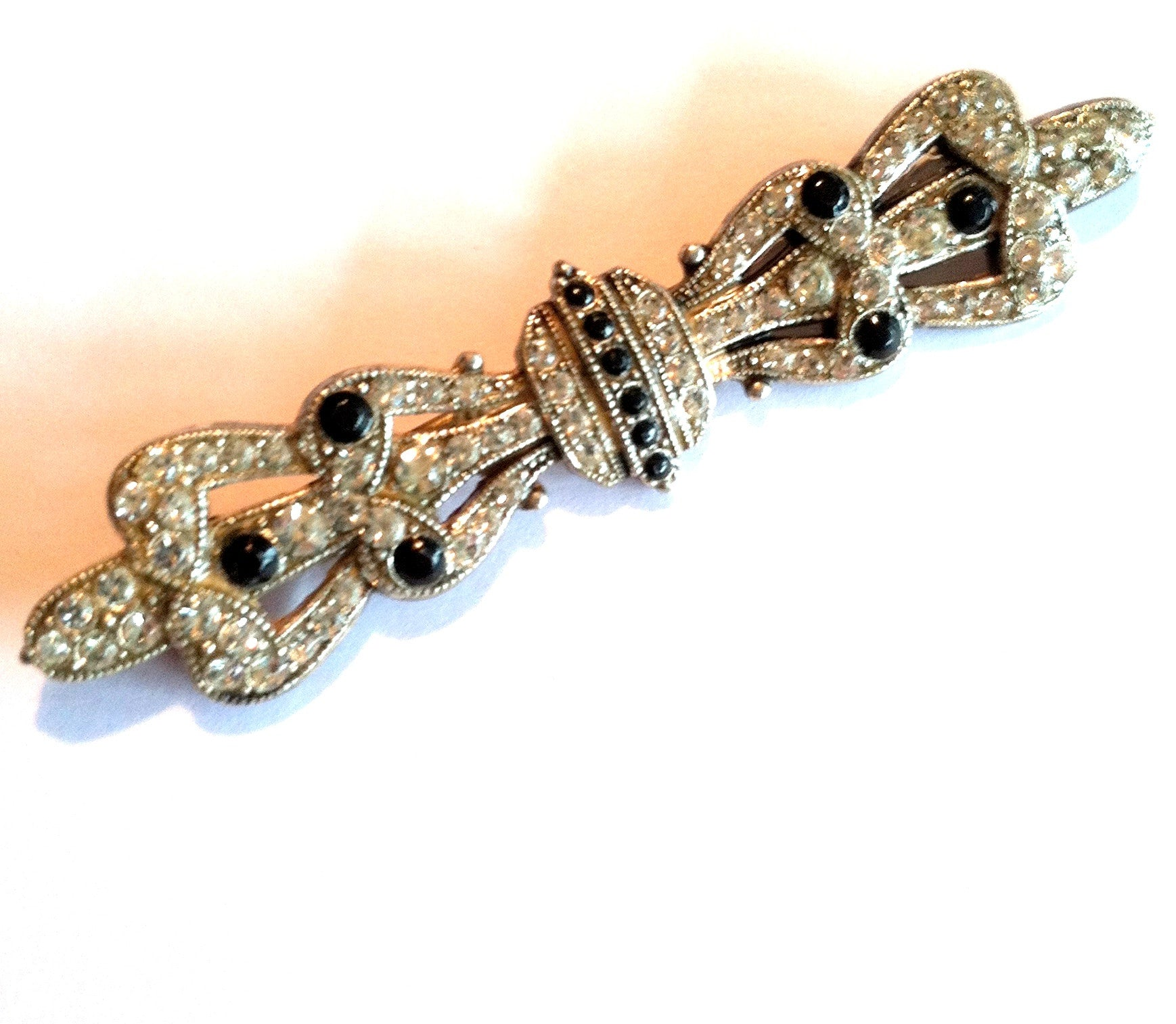 vintage Black and Silver Rhinestone Dotted Bar Pin circa 1930s