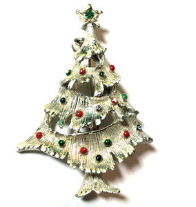 Red and Green Beaded Silver Tone Christmas Tree Brooch circa 1960s
