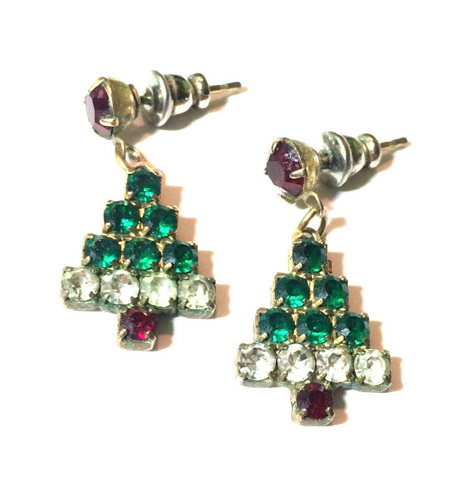 Green and Red Rhinestone Christmas Tree Dangle Earrings circa 1970s
